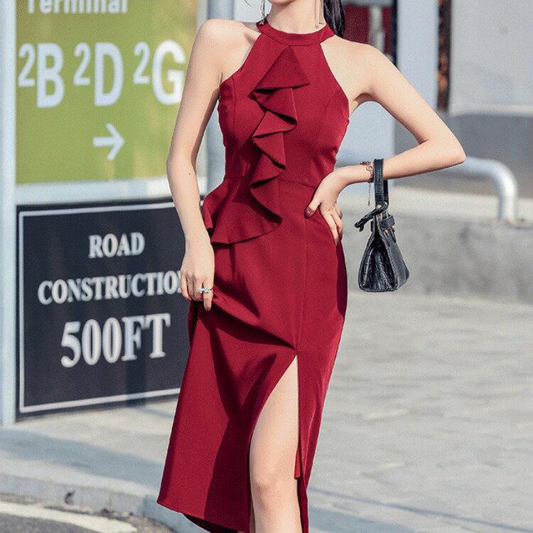 全店一件免運✦2021夏季新款泰式掛脖荷葉邊修身開叉中長裙性感收腰洋裝✦女裝