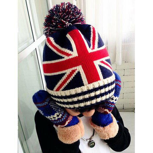 [英倫風]針織保暖兒童毛帽 英國國旗 星星 撞色 兒童毛帽