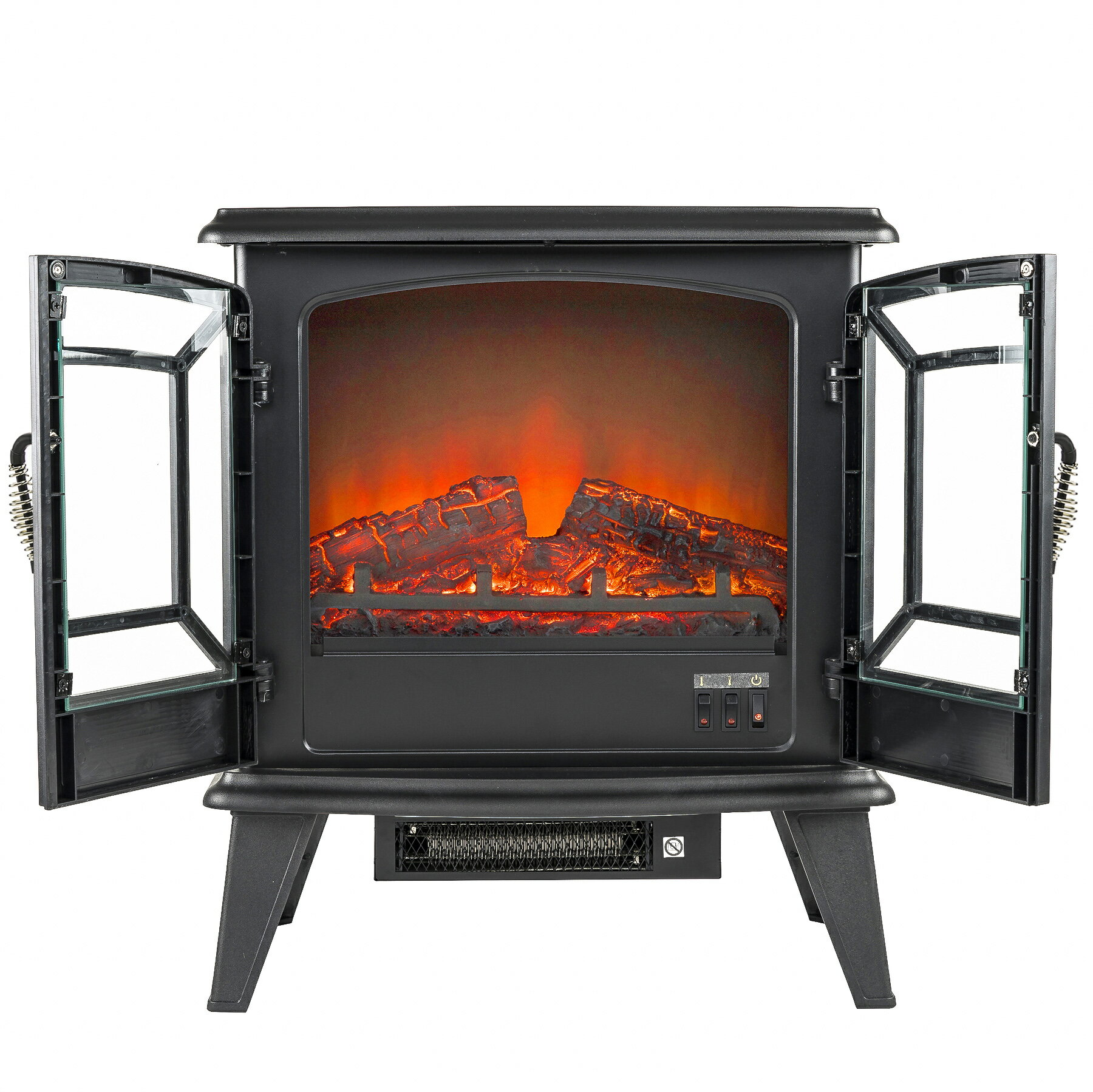 "AKDY 20"" Freestanding Portable 3D Flame Electric Fireplace Heater 2"