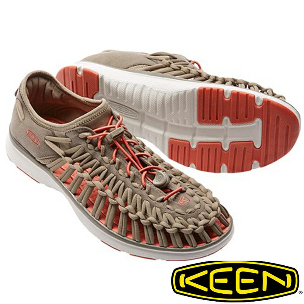 【KEEN 美國】UNEEK O2男拉繩涼鞋『淺咖啡/橘』1016906 水陸兩用鞋|自行車|溯溪|健走|健行|海邊|沙灘鞋