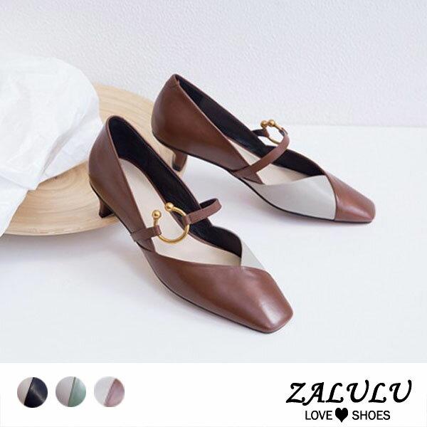 ZALULU愛鞋館7BB216全真皮交叉拼色馬蹄扣環低跟鞋-黑咖啡軍綠-35-40