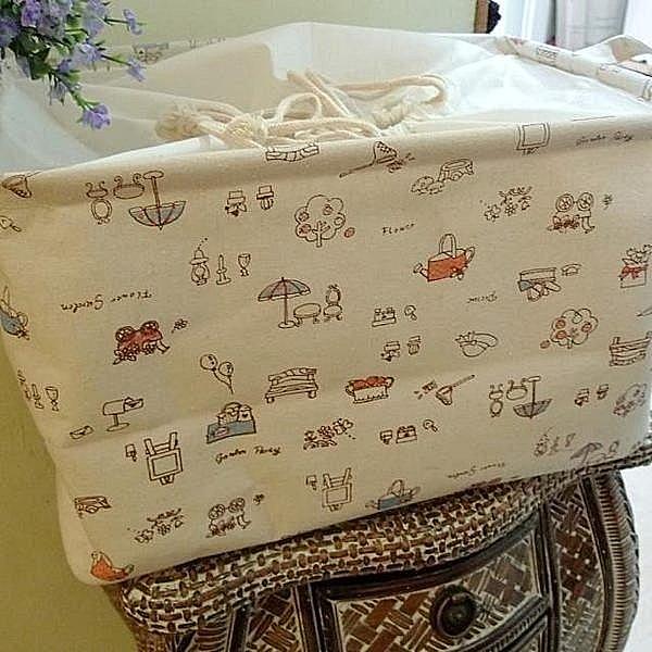 BO雜貨【YV2228】zakka日式鄉村風雜貨防塵棉麻束口收納盒 玩具海邊收納 野餐盒雜物包袋