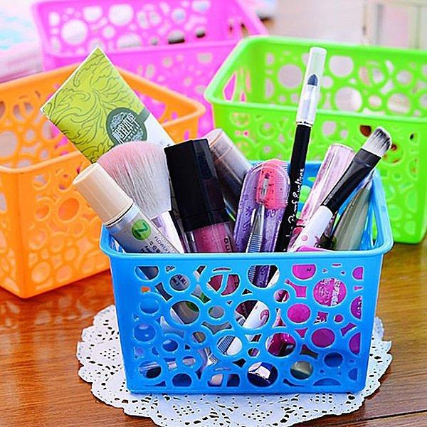 BO雜貨【SV4119】 韓國創意鏤空長方形桌面筆筒 個性時尚塑膠筆筒 桌面收納置物桶 垃圾桶 收納籃