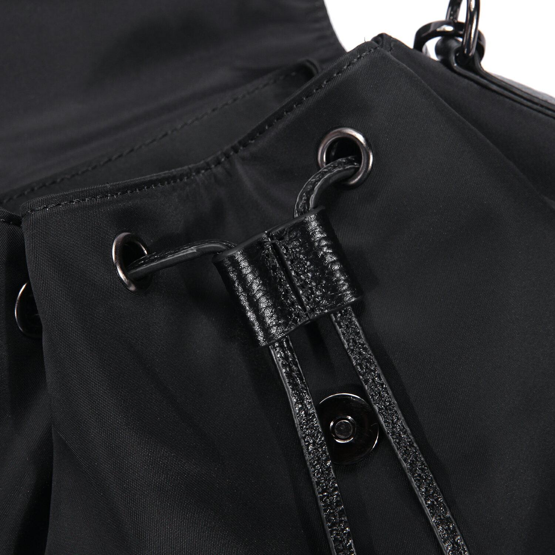 【BEIBAOBAO】韓國進口防水布配真皮流蘇後揹包(神秘黑) 7