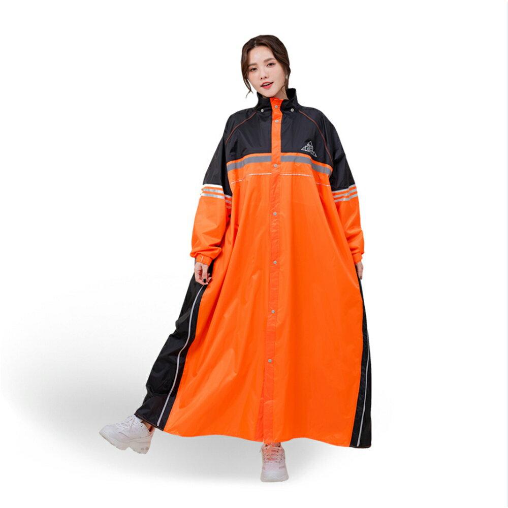 【狠罩HenCover】R5前開式雙側開連身雨衣-黑野橘