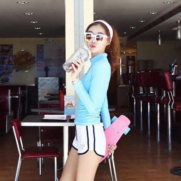 PS Mall 泳裝【ET025】保守防曬長袖高腰游泳衣女分體三角顯瘦遮肚運動泳裝 溫泉 沙灘 BIKINI 1