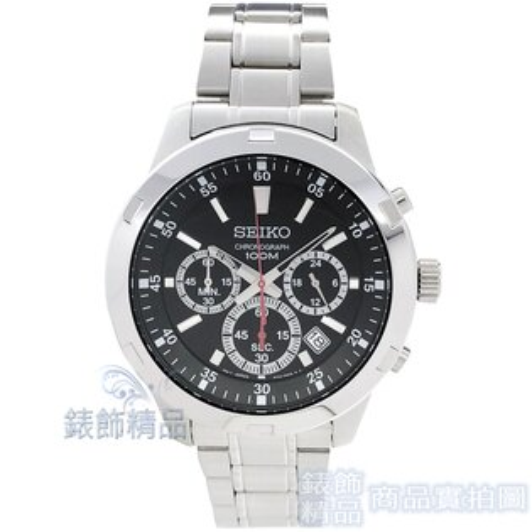 【錶飾精品】SEIKO手錶SKS605P1精工錶黑面日期防水三眼計時鋼帶男表全新原廠正品生日情人禮物