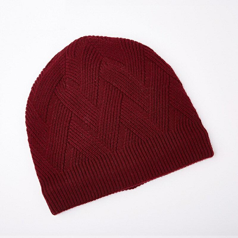 毛帽羊毛針織帽-純色菱形花紋包頭男帽子4色73wj46【獨家進口】【米蘭精品】 1