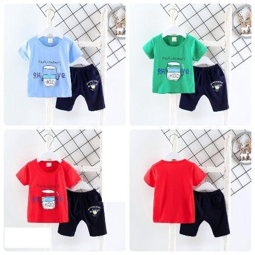 嬰兒短袖套裝短袖上衣+短褲寶寶童裝UG11030好娃娃