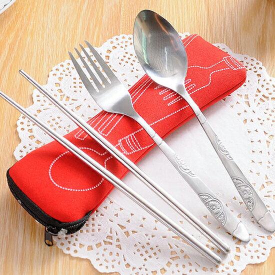 Mycolor:♚MYCOLOR♚布袋筷勺叉三件套餐具便攜套裝環保不鏽鋼學生工作戶外用餐野餐【Q188-1】