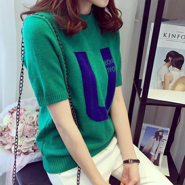 糖衣子輕鬆購【HY1030】韓版時尚圓領修身顯瘦字型印花針織上衣