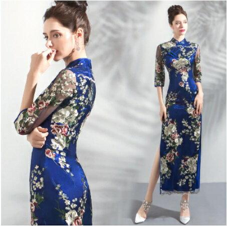 天使嫁衣【AE8812】藍色復古剌繡中袖雙邊開叉長旗袍˙預購訂製款
