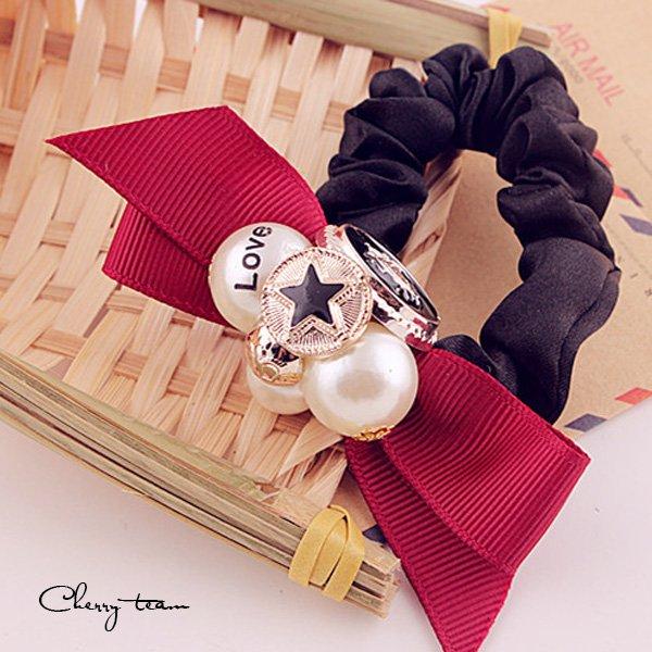 五角星皇冠珍珠造型髮束髮圈F266【櫻桃飾品】【F266】