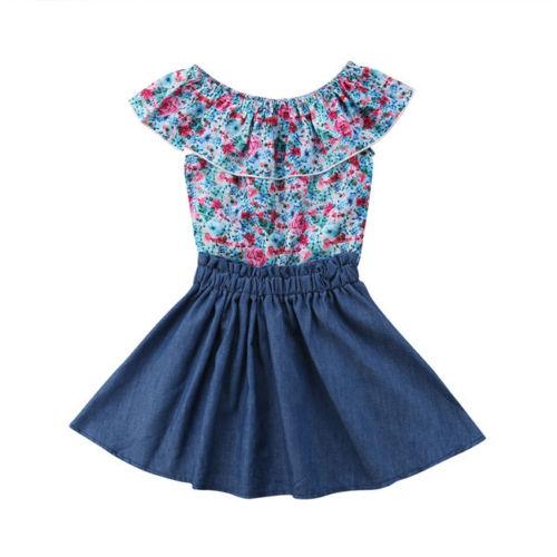 0d83bf037 Toddler Kids Baby Girls Outfits Clothes T-shirt Tops+Tutu Dress Skirt 2PCS  Sets