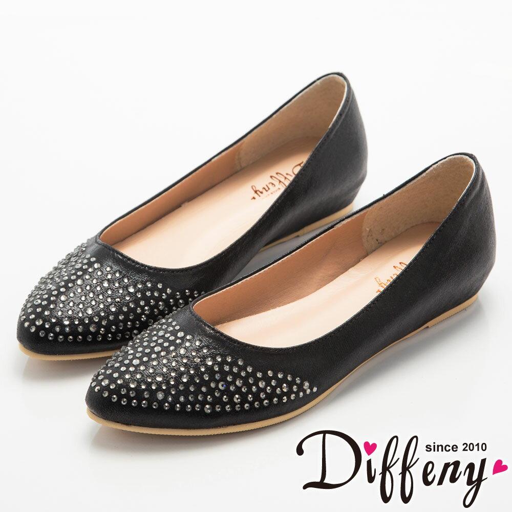 Diffeny 法式優雅 耀眼水鑽內增高尖頭鞋~黑