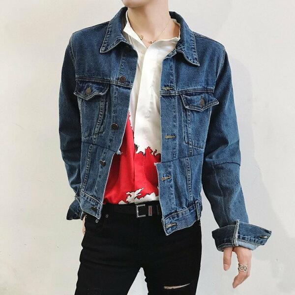 FINDSENSEG6韓國時尚牛仔外套夾克男修身潮流帥氣重工拼接