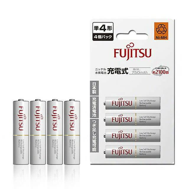 FUJITSU富士通 HR-4UTC(4B) 750mAh 低自放鎳氫4號AAA可回充2100次充電電池