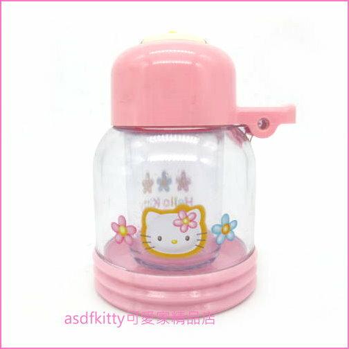 asdfkitty可愛家☆二手商品出清(有泛黃)-KITTY粉紅色小花牙籤罐-正版商品