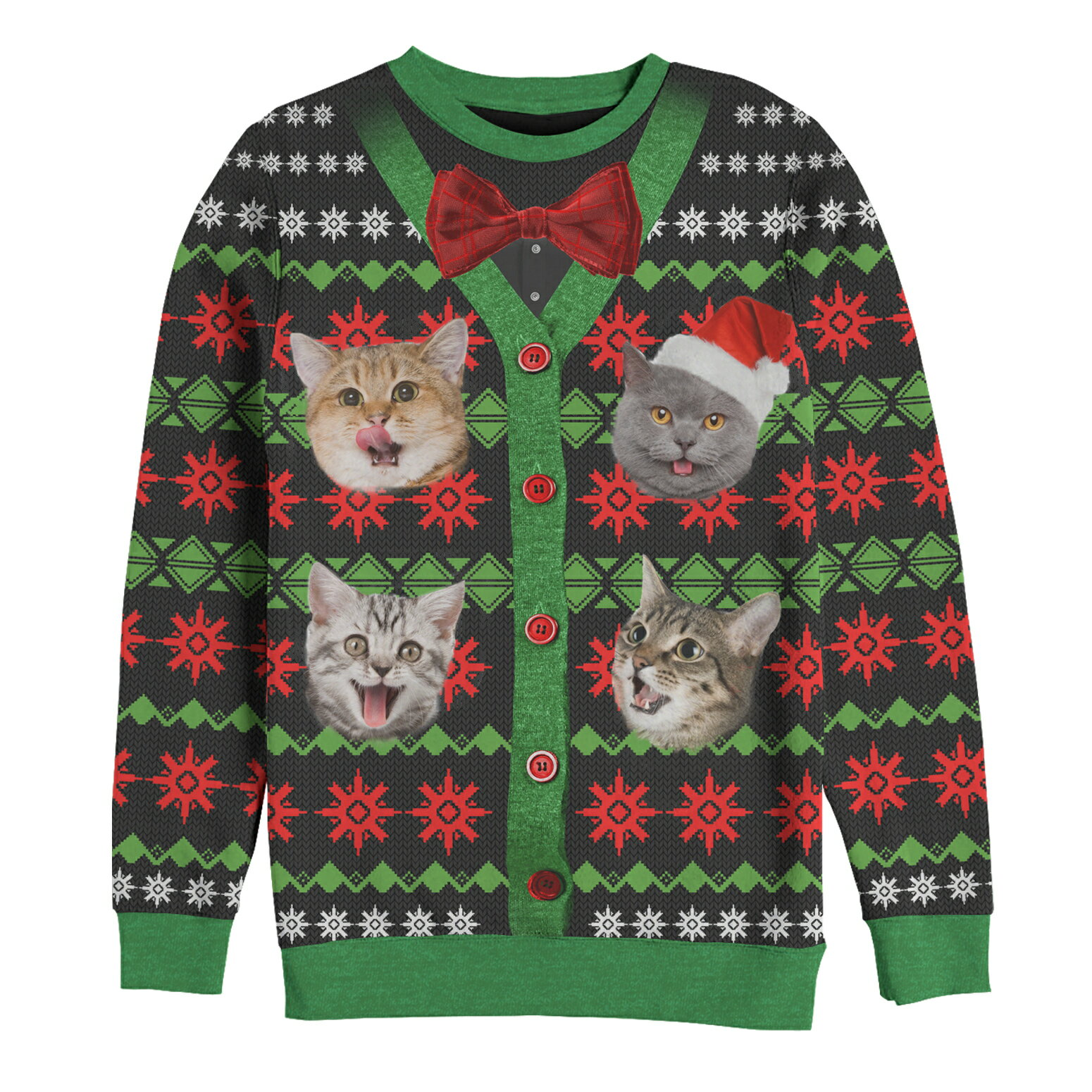 180a50df3f66d6 Lost Gods Ugly Christmas Sweater Bow-Tie Cat Explosion Mens Graphic  All-Over Sweatshirt