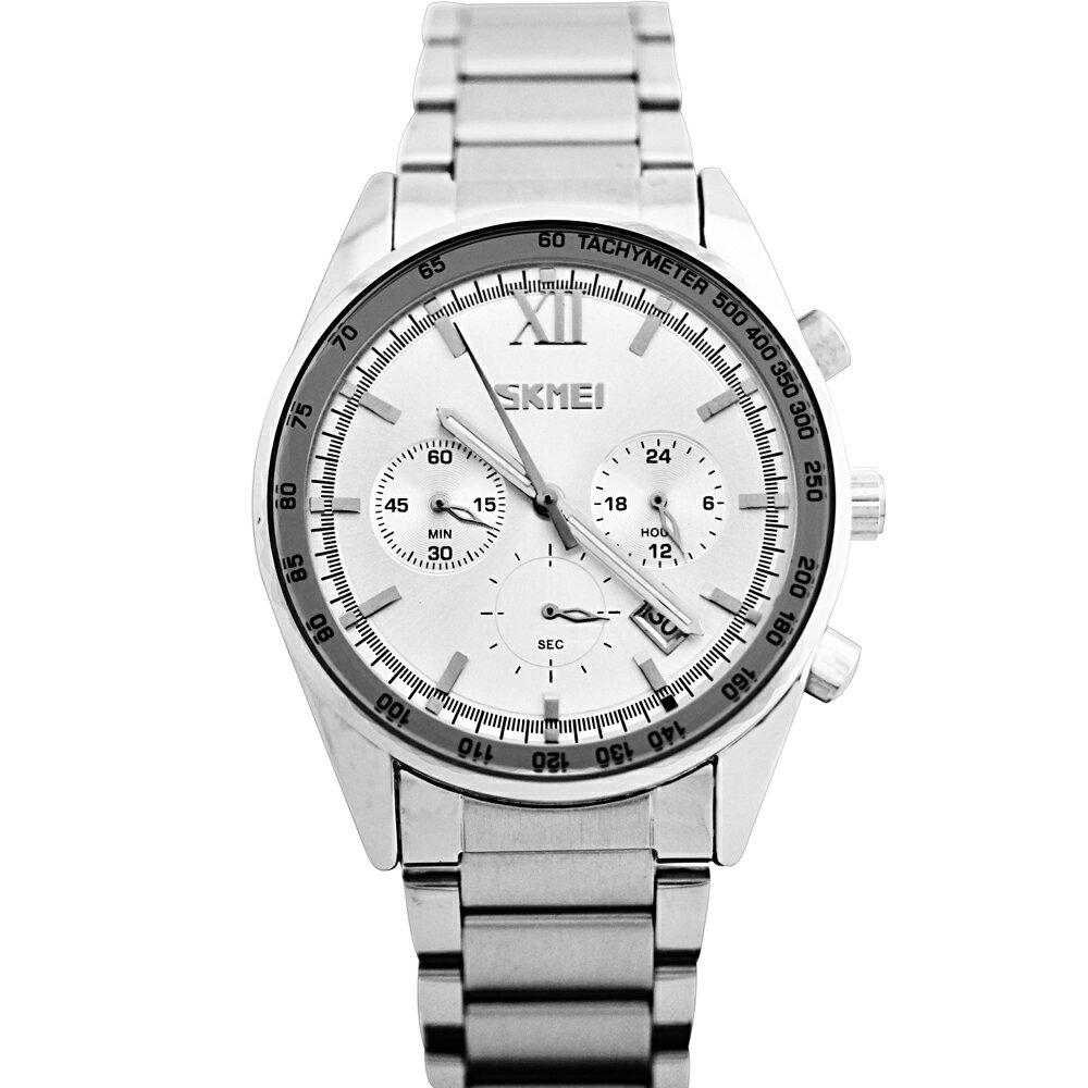 SKMEI 時刻美9096 尊爵大器真三眼金屬男士腕錶 1