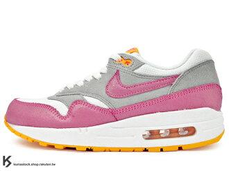 [30% OFF] 2014 NSW 經典款復刻 NIKE WMNS AIR MAX 1 ESSENTIAL 女鞋 白灰粉紅橘 網布 麂皮 (599820-107) !