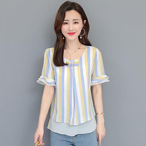*ORead*韓版喇叭袖寬鬆顯瘦雪紡衫(4色M~4XL) 0