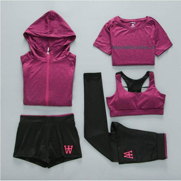 美琪新款瑜伽服五件套顯瘦健身服速乾背心長褲戶外運動套裝