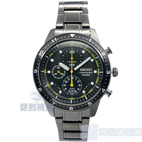 【錶飾精品】SEIKO錶SNDF43P1精工錶計時碼錶日期鍍黑鋼帶男錶全新原廠正品