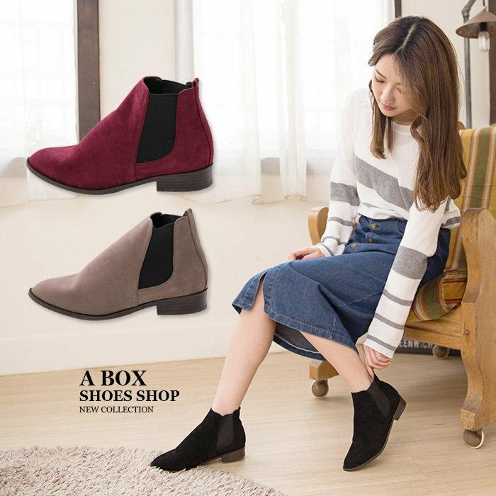 【AA3779】MIT台灣製 百搭時尚單品 質感素面絨布 鬆緊帶粗低跟馬丁靴 短靴 短筒靴 3色 0
