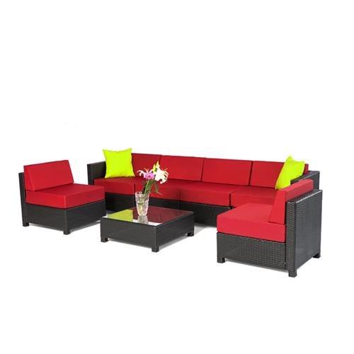 Mcombo 7 Pcs Wicker Patio Sectional Sofa Furniture Set   Burgundy 0