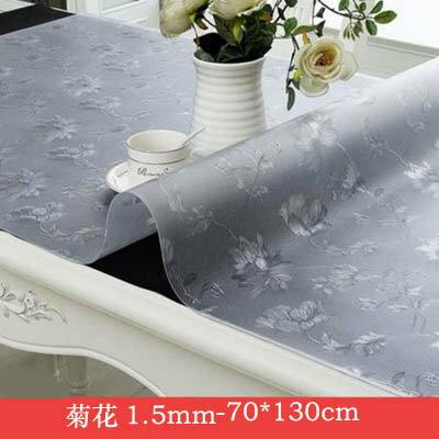 【1.5mm軟玻璃桌墊-70*130cm-1款組】PVC桌布防水防燙防油免洗膠墊(可定制)-7101001
