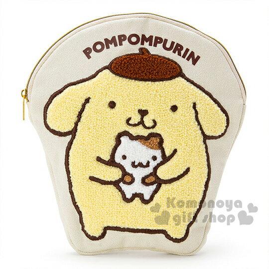 〔小禮堂〕布丁狗 刺繡造型筆袋《白.抱小栗鼠.站姿》帆布布材質