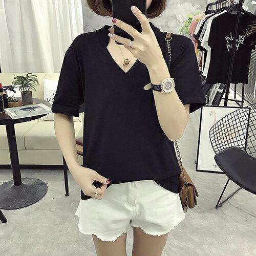 v領短袖T恤(2色M~2XL)*ORead*