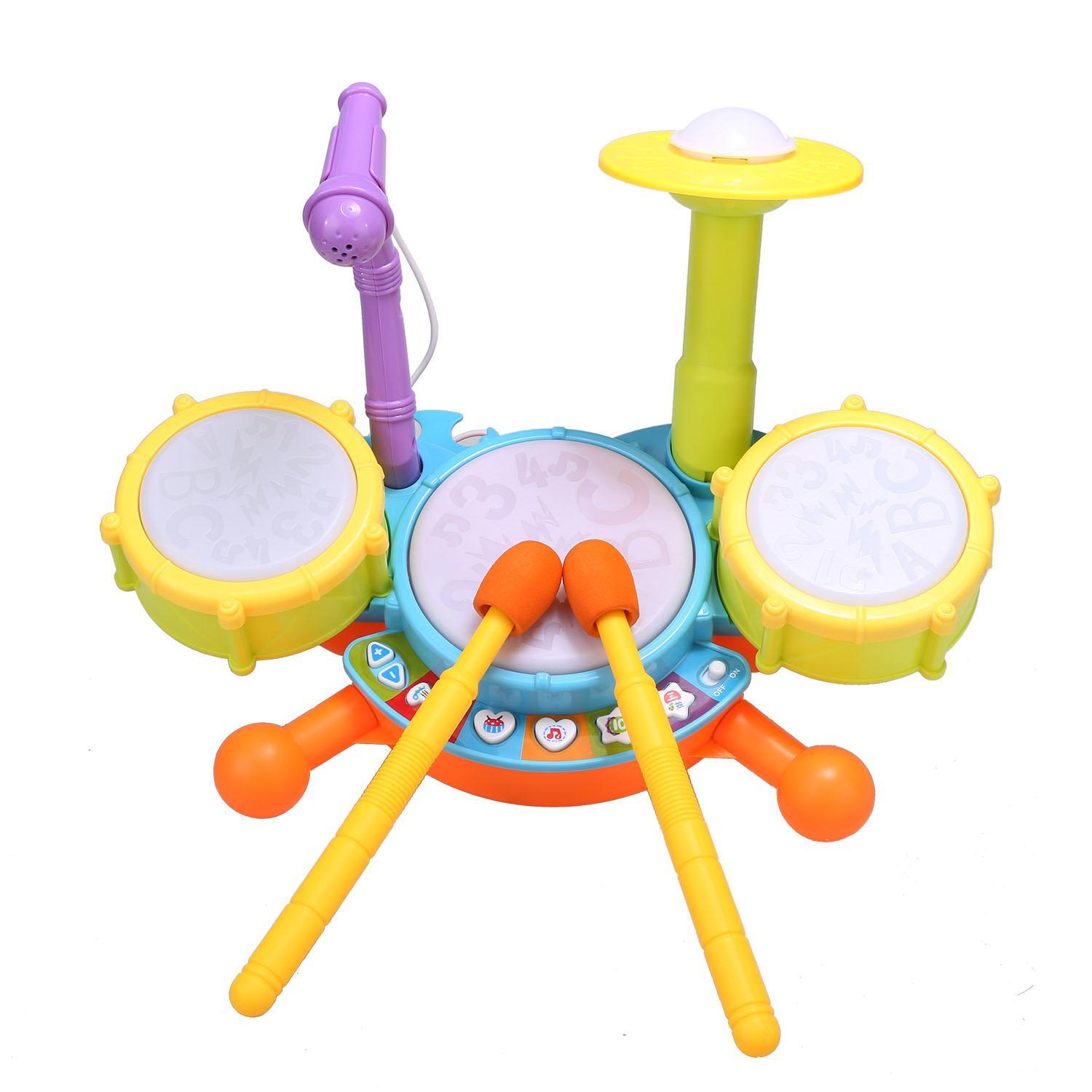 Multicolor Plastic Educational Development Music Toy Electric Beats Jazz Drum Set 3