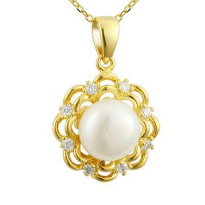 ~純銀項鍊 鍍18K金珍珠吊墜~ 優雅鑲鑽花朵情人節生日 女飾品73dh6~ ~~米蘭 ~