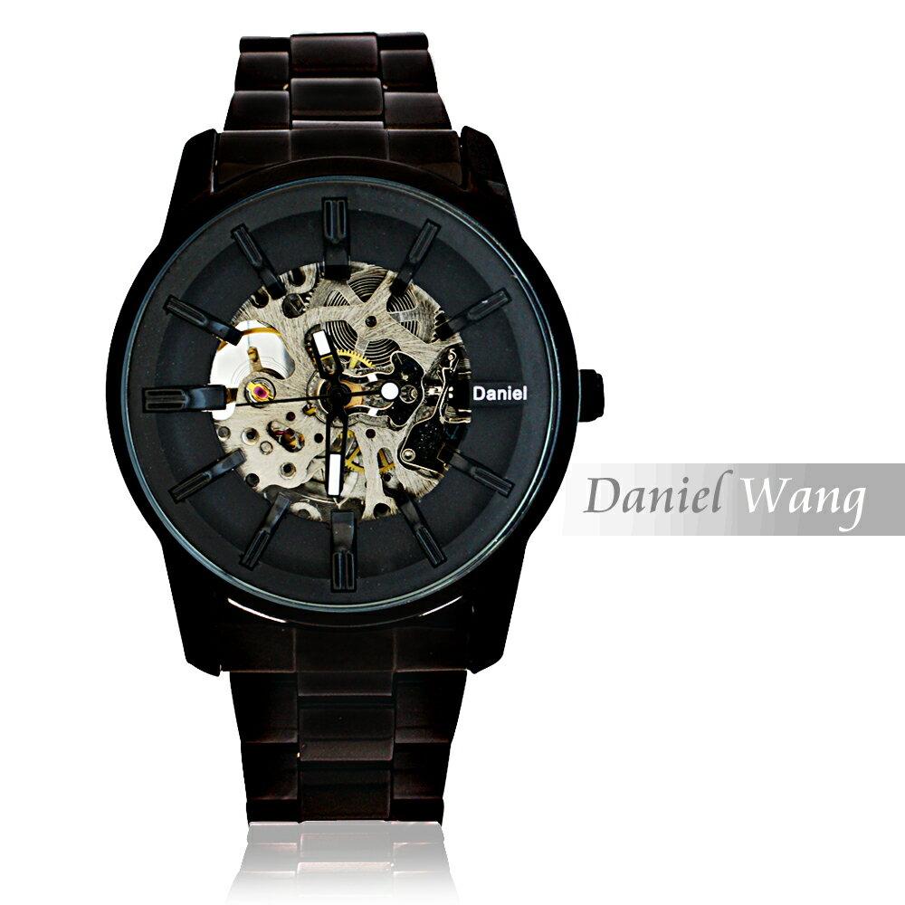 Daniel Wang DW-3142-IP 絢麗閃電雙面鏤空指針式全自動機械錶 1