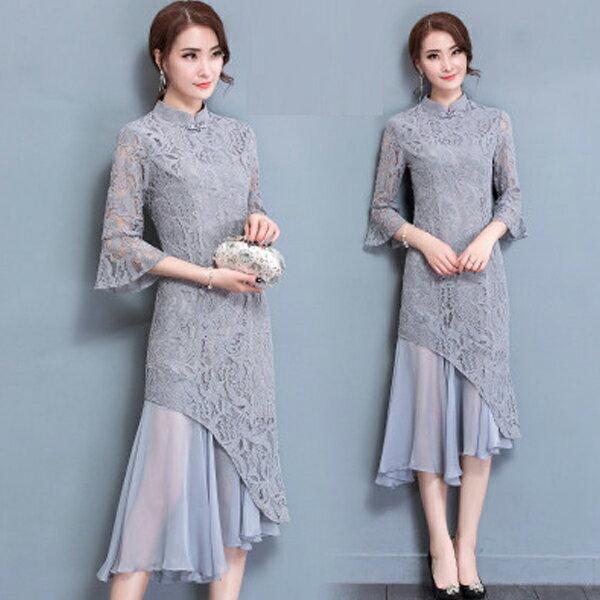 梅西蒂絲Mercedes Shop:《全店75折》旗袍立領蕾絲顯瘦不規則七分袖洋裝禮服(S-3XL)-梅西蒂絲(現貨+預購)