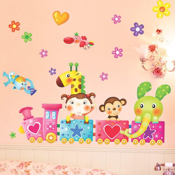 BO雜貨【YV0687】DIY時尚裝飾組合可移動壁貼 牆貼 壁貼 創意壁貼 可愛卡通動物火車XY3005