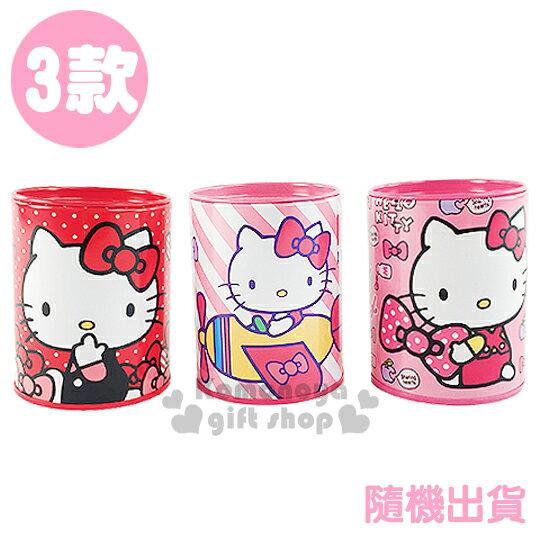 〔小禮堂〕Hello Kitty 鐵製圓形存錢筒《3款.隨機出貨.粉/紅.抱蝴蝶結/多蝴蝶結/開飛機》還可當擺飾