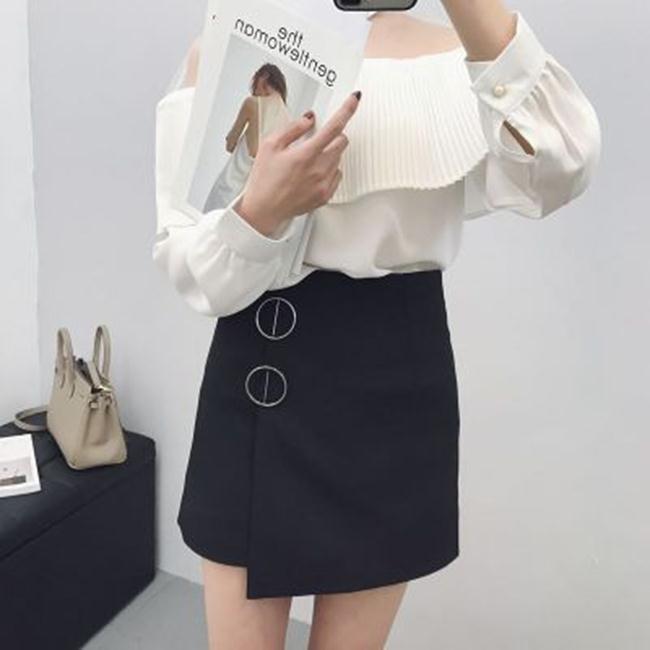 50%OFF SHOP初春 高腰修身不規則金屬圈裝飾半身裙~G023324S~~吊帶褲短裙