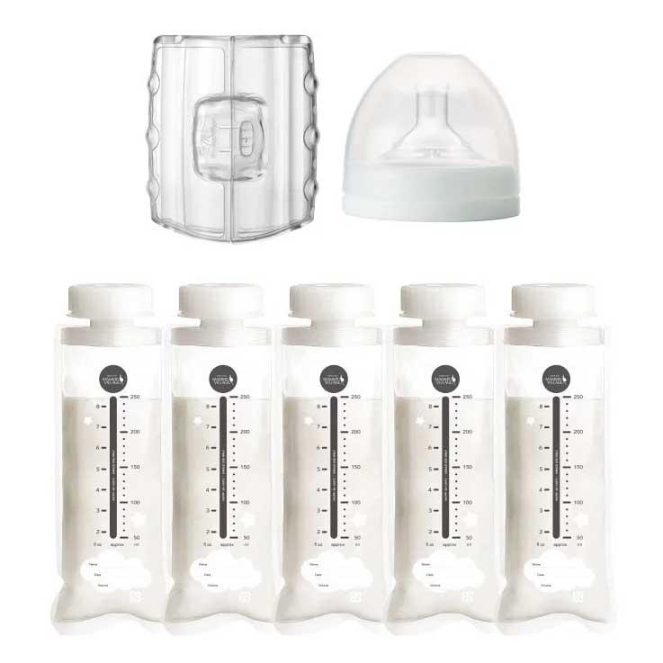 六甲村 寬口拋棄式奶瓶組合包(奶瓶250ml*5+手握器*1+奶嘴蓋組*1+奶嘴*1)【德芳保健藥妝】 2
