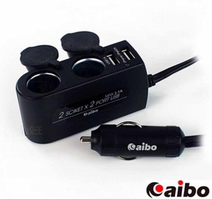 【尋寶趣】aibo AB432 加強版車用USB點煙器擴充座(雙USB埠+雙點煙器+80cm延長線 IP-C-AB432