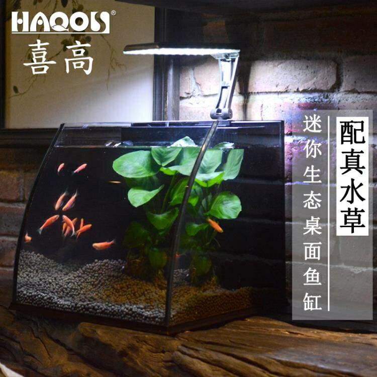 水族箱 迷你家用小型客廳玻璃創意桌面生態魚缸水族箱懶人魚