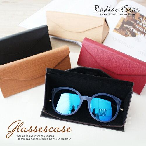 時尚寶盒折疊式易攜仿木紋三角眼鏡盒【OD003】璀璨之星☆