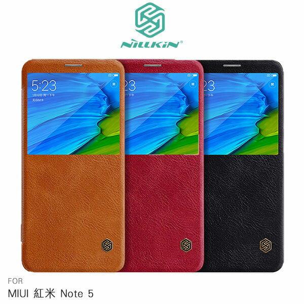 【愛瘋潮】99免運NILLKINMIUI紅米Note5秦系列開窗側翻皮套皮套手機套開窗皮套
