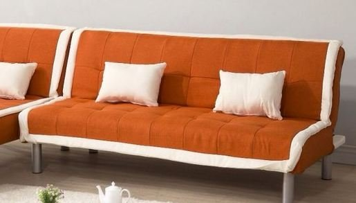 !新生活家具! 北歐風 沙發床 亞麻布 3人座沙發 沙發套 橘色 三人位沙發床 《奶油滾邊》 可拆洗 非 H&D ikea 宜家