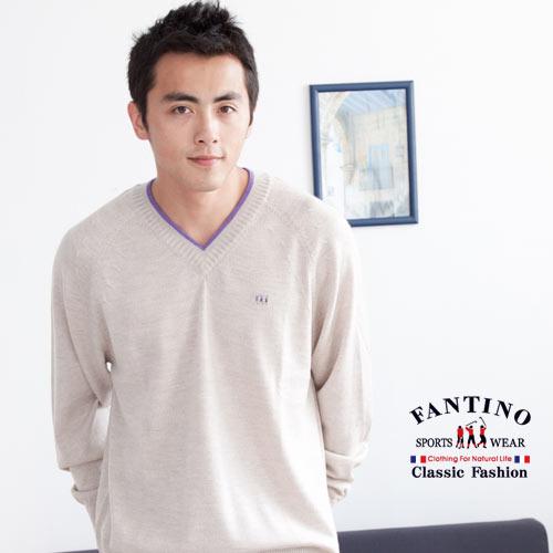 【FANTINO】男款 可水洗羊毛V領百搭針織衫(杏)047314