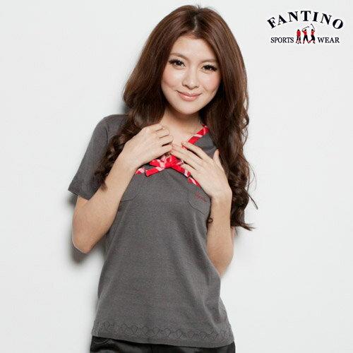 【FANTINO】女款 經典V領格紋包邊針織衫(灰)077116