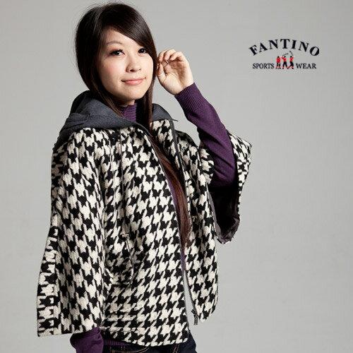 【FANTINO】女款 大千鳥格紋時尚寬袖短版外套(黑白)085305