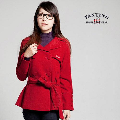 【FANTINO】女款 氣質雙排鈕扣外套(紅色 ) 085306
